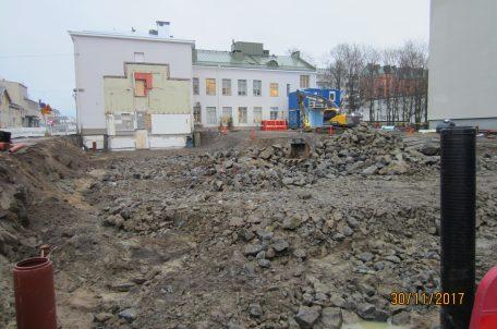 Fyllnadsarbetet påbörjas på Sandögatan 6